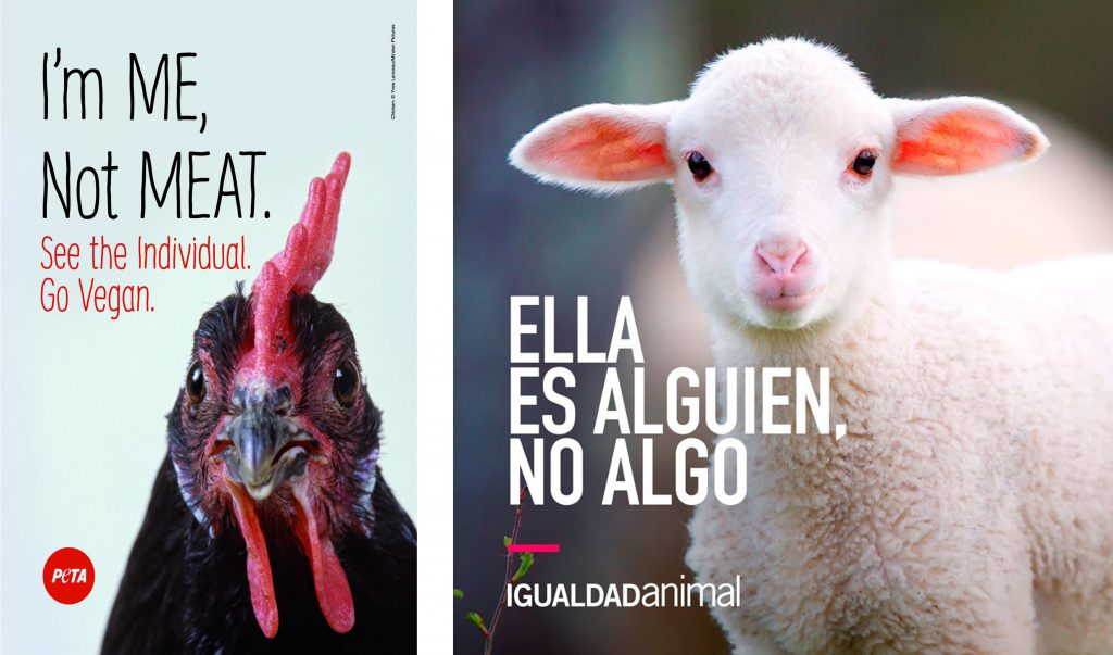 Campañas de PETA (izquierda) e Igualdad Animal (derecha)