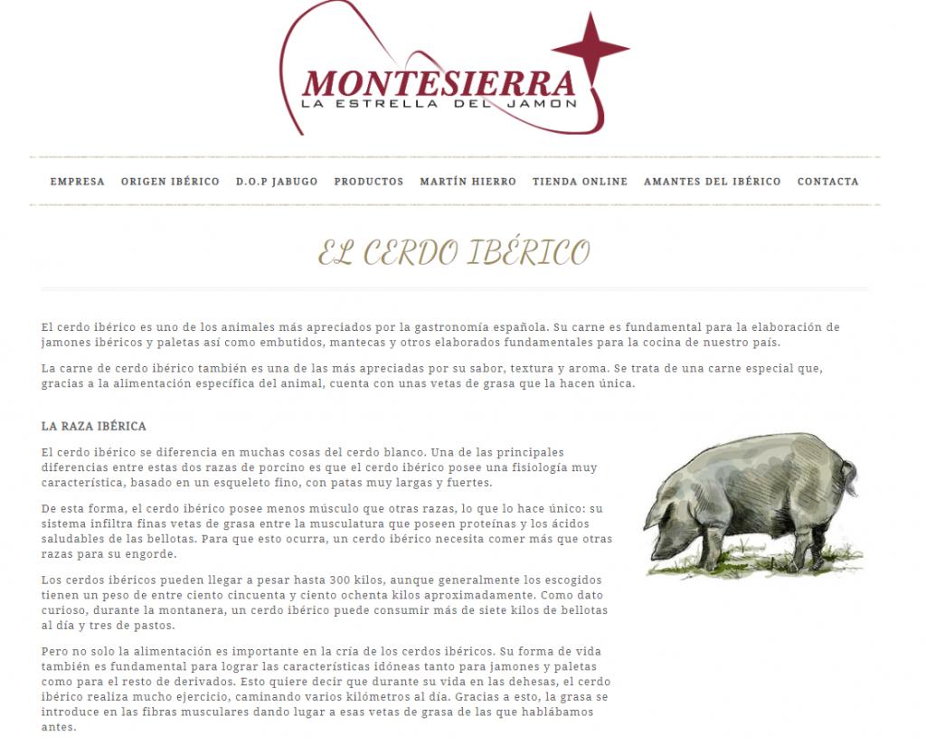 Figura 1. Captura de pantalla de la web de Montesierra la Estrella del Jamón[6]